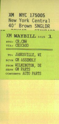 Quaker Valley Car Card and Waybill